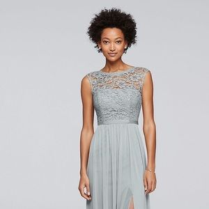 DAVID'S BRIDAL CHIFFON AND LACE GRAY DRESS